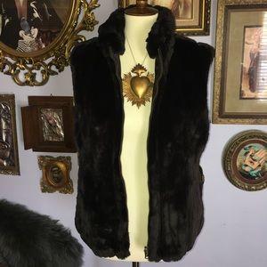 FUDA reversible Faux Fur Poly Zip Vest Small